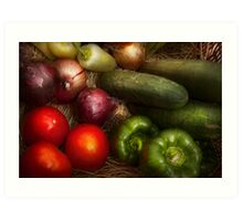 Food - Vegetables - Onions, Tomatoes, Peppers, and Cucumbers  Art Print