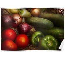 Food - Vegetables - Onions, Tomatoes, Peppers, and Cucumbers  Poster