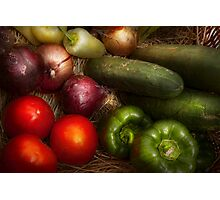 Food - Vegetables - Onions, Tomatoes, Peppers, and Cucumbers  Photographic Print
