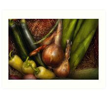 Food - Vegetables - Greens and Onions  Art Print