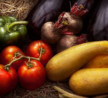 Food - Vegetables - Peppers, Tomatoes, Squash and some Turnips by Mike  Savad