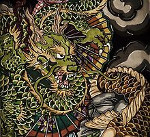 Japanese dragon and koi fish  by Adam  Parsons