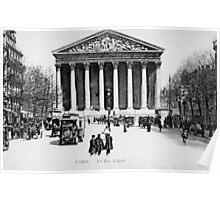 Vintage antique Paris Rue Royale Madeleine church Poster