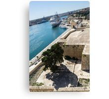 Valletta Grand Harbour - High Noon Shadows and Cruise Ships Canvas Print