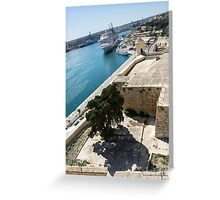 Valletta Grand Harbour - High Noon Shadows and Cruise Ships Greeting Card