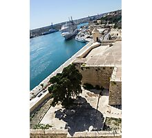 Valletta Grand Harbour - High Noon Shadows and Cruise Ships Photographic Print