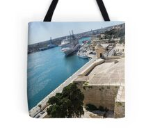 Valletta Grand Harbour - High Noon Shadows and Cruise Ships Tote Bag