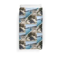 Valletta Grand Harbour - High Noon Shadows and Cruise Ships Duvet Cover