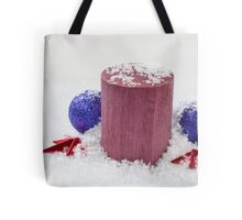 Christmas Candle Snow and Baubles Tote Bag