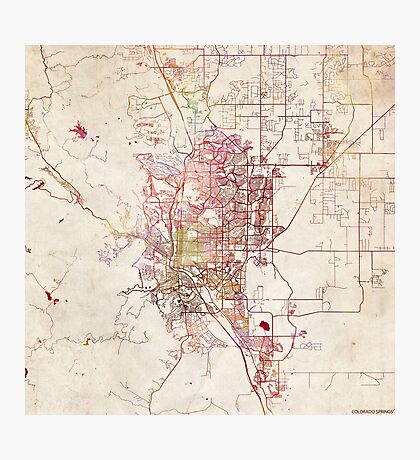 Colorado Springs map Colorado Photographic Print
