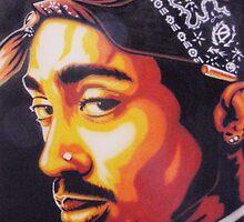 Tupac (stencilised) by Bilistik Art