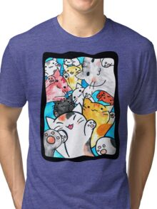 Manga cats conquer the world (with frame) Tri-blend T-Shirt