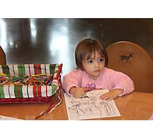 Coloring a picture for Santa..... Photographic Print