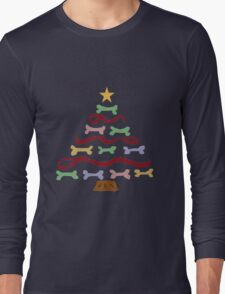 Funny Cool Dog Biscuit Christmas Tree Long Sleeve T-Shirt