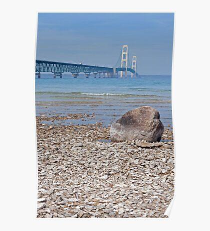 Mackinac Bridge With Rock Poster