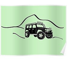 Jeep Wrangler JK With Mountain Background Tee / Sticker - Black Poster
