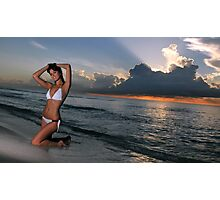Beautiful brunette posing in a water at sunrise in Miami beach, Florida  Photographic Print