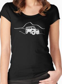 Jeep Wrangler JK With Mountain Background Tee / Sticker - White Women's Fitted Scoop T-Shirt
