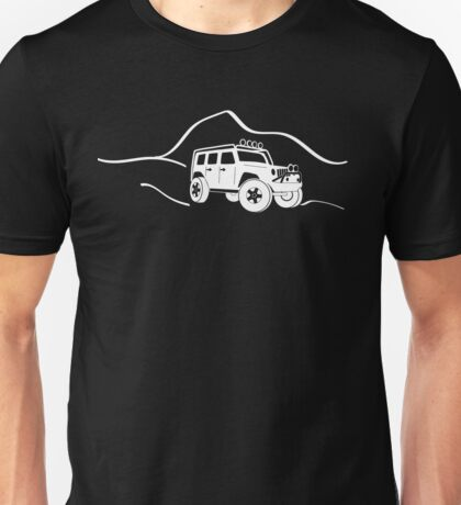 Jeep Wrangler JK With Mountain Background Tee / Sticker - White Unisex T-Shirt
