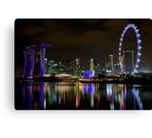 Amazing Colorful Singapore Skyline by Night Canvas Print