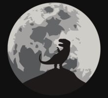 Dinosaur Moon Silhouette - T-Rex One Piece - Long Sleeve