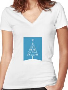 Christmas Tree Made Of Snowflakes On Cerulean Background Women's Fitted V-Neck T-Shirt