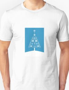 Christmas Tree Made Of Snowflakes On Cerulean Background T-Shirt