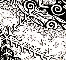 ATC Snowflake doodle by KalonaCreations
