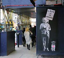 Einstein, street art, banksy, love is the answer  by Jason Gleeson