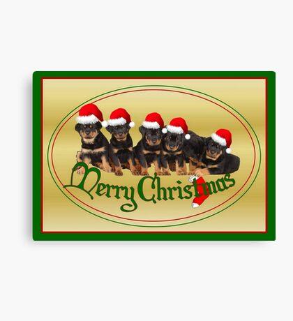 Cute Merry Christmas Rottweiler Puppies Canvas Print