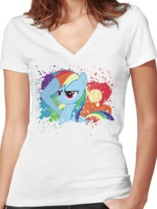 Salute to Rainbow Dash Women's Fitted V-Neck T-Shirt