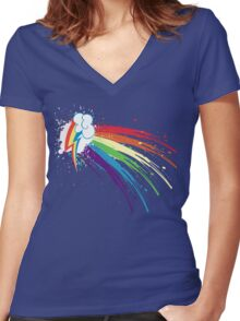 Rainbow Slash Women's Fitted V-Neck T-Shirt