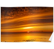 Sunset, Solway Firth, Dumfriesshire, Scotland, winter Poster