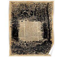 Forest Frame DictionaryArt Trees Ink Artwork  Poster