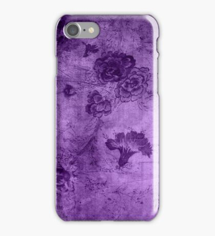 Purple Vintage Flowers Texture iPhone Case/Skin
