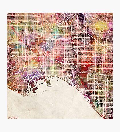 Long beach map California Photographic Print