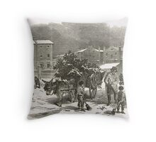 The Holly Cart Victorian Christmas 1848 Throw Pillow