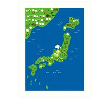 cartoon map of japan Art Print