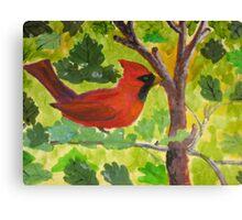 Cardinal standing guard. Canvas Print