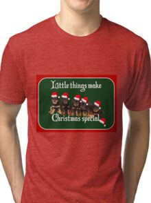 Little Things Make Christmas Special Rottweiler Greetings Tri-blend T-Shirt