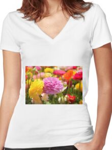 field of multicoloured cultivated Buttercup (Ranunculus) flowers Women's Fitted V-Neck T-Shirt