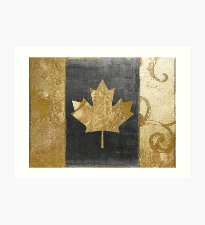Canada Flag Fashion Gold Art Print