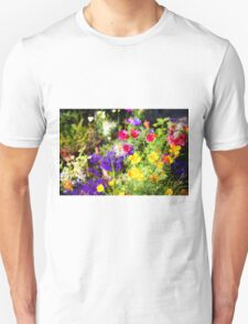 flowering garden. Yellow and purple blooming flowers T-Shirt
