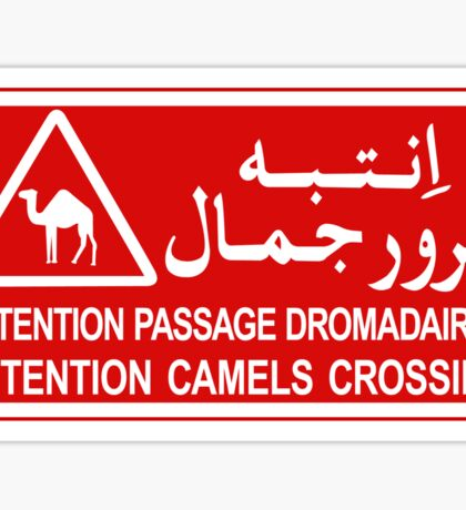 Attention Camels Crossing, Sign, Tunisia Sticker
