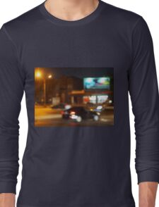 Abstract blurred image of a car driving in the city Long Sleeve T-Shirt