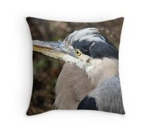 Close Up Great Blue Heron Throw Pillow
