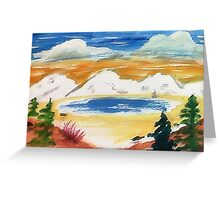 In the Valley below snowy mountains, watercolor Greeting Card