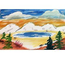 In the Valley below snowy mountains, watercolor Photographic Print