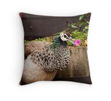 Peacock-a-boo Throw Pillow