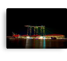 Colourful Laser Beams at Marina Bay Singapore Canvas Print
